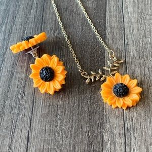 Sunflower earrings and necklace